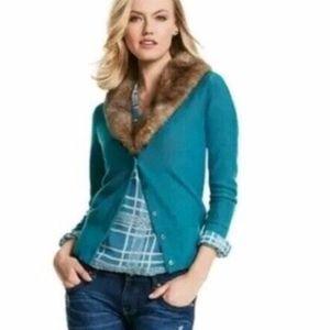 CAbi #3018 Size Large Women's Tearoom Cardigan fur